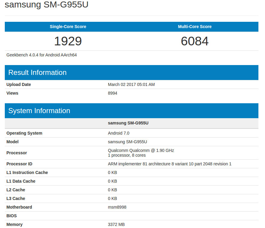 Samsung Galaxy S8+ Geekbench leak