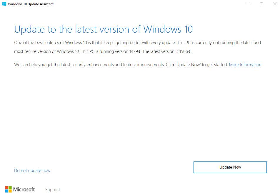 Windows 10 Update Assistant Creators Update