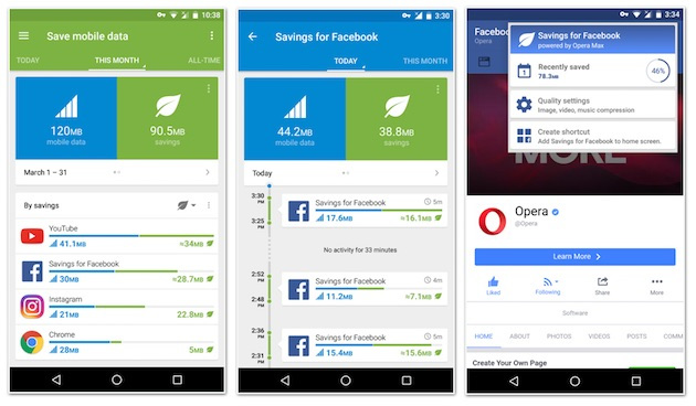 Opera Max 3.0 Facebook Savings