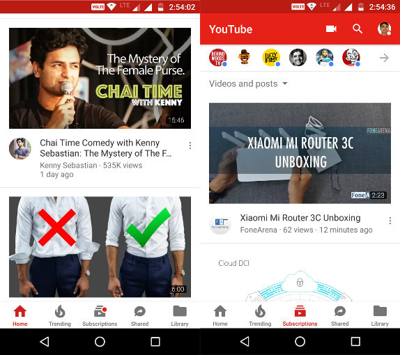 YouTube for Android Bottom Navigation UI