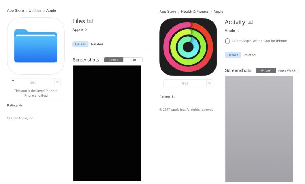 Files and Activity app placeholders surface on App Store ahead of