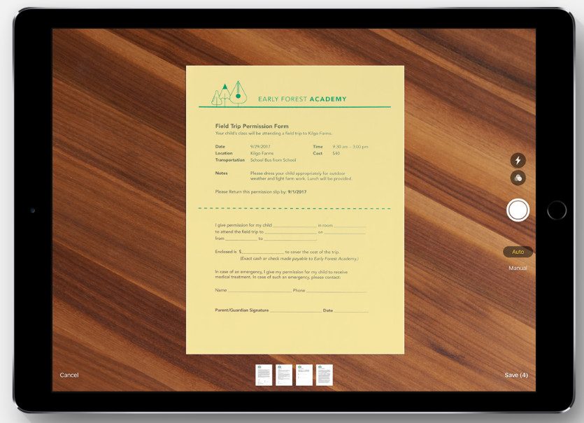 Apple iOS 11 Document Scanner