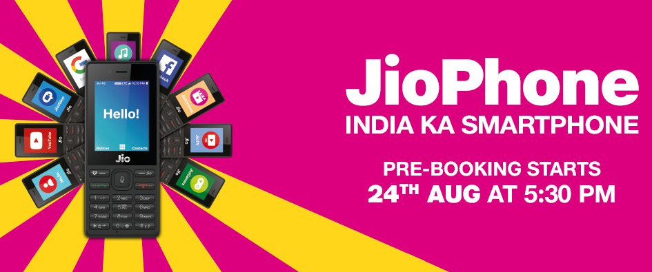JioPhone pre-booking on August 24