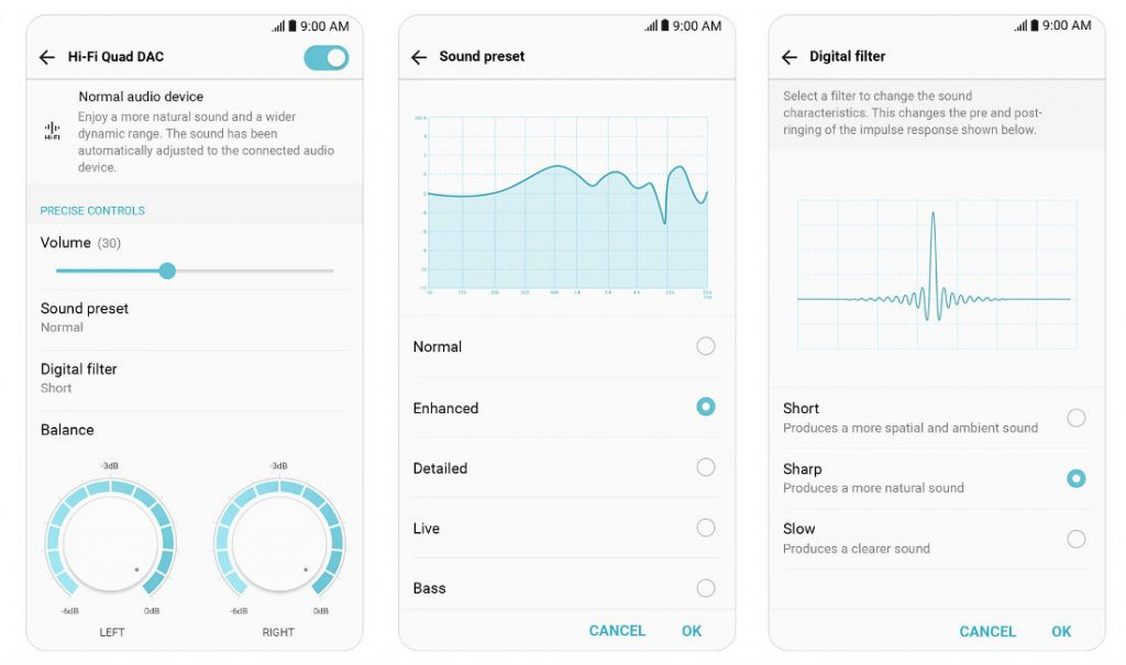 LG V30 Hi-Fi Quad DAC Sound preset, Digital filter