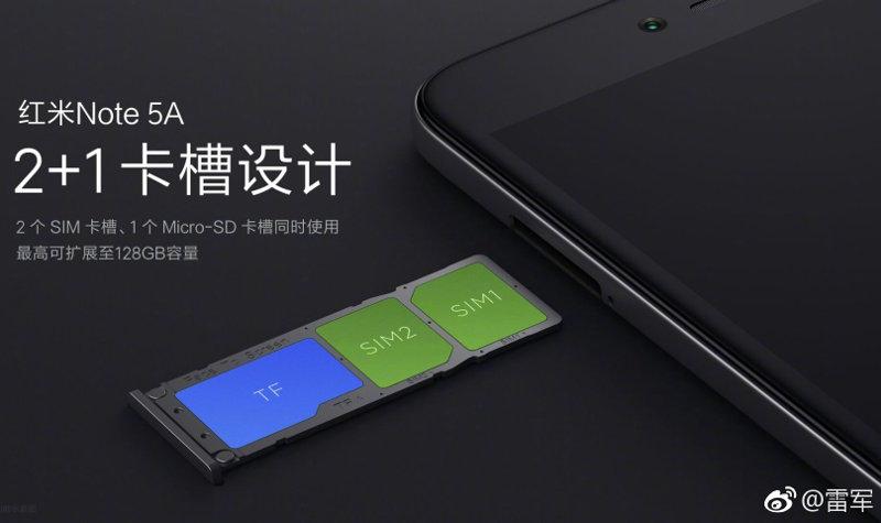 Redmi Note 5A dedicated dual SIM slots