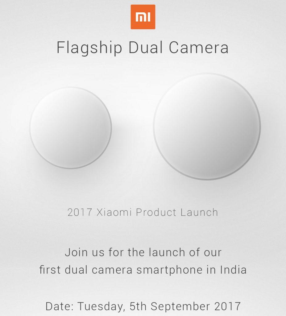 Xiaomi Flagship Dual Camera smartphone India launch September 5
