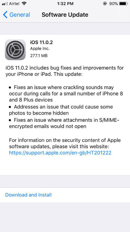 Apple iOS 11.0.2 for iPhone