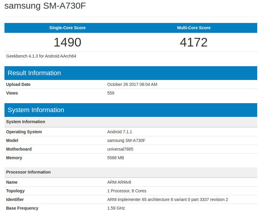 Samsung Galaxy A7 2018 SM-A730F Geekbench