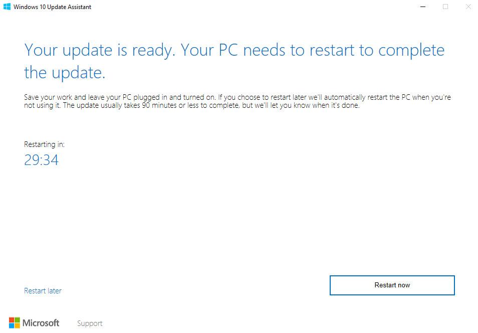 Windows 10 Update Assistant Fall Creators Update Restart