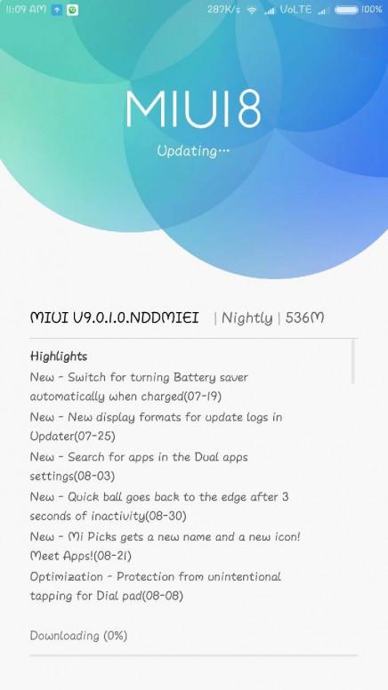 Xiaomi Mi Max 2 MIUI 9 Nightly V9.0.1.0.NDDMIEI