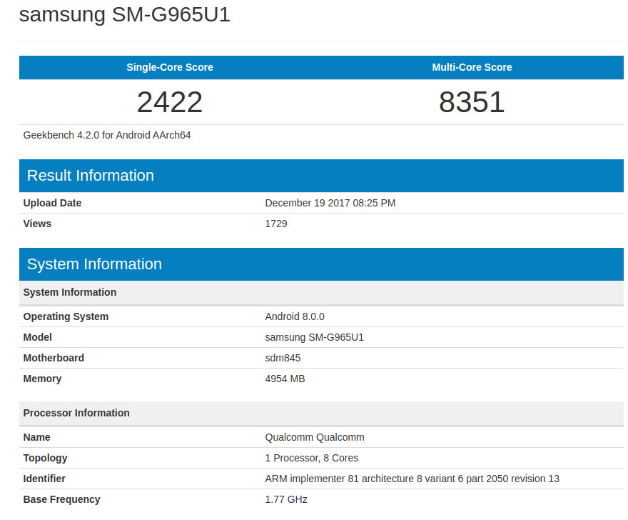 Samsung Galaxy S9 Plus Geekbench leak