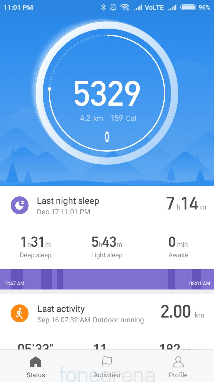 6fd05ccfe04c The Mi Fit app for Android and iPhone have been improved a lot since the Mi  Band 2. The app has a new color scheme that looks attractive.