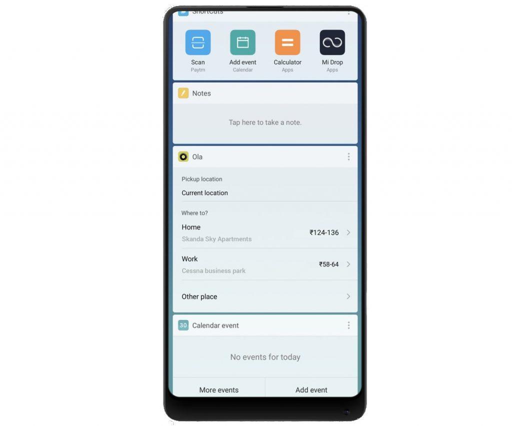 MIUI App Vault Overview – Shortcuts, Cricket, Calendar events, Notes