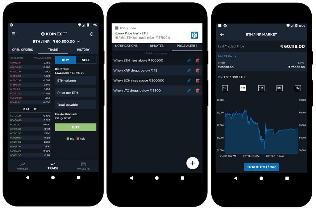 Koinex android app with custom price alerts fingerprint for Kuchenplaner app android