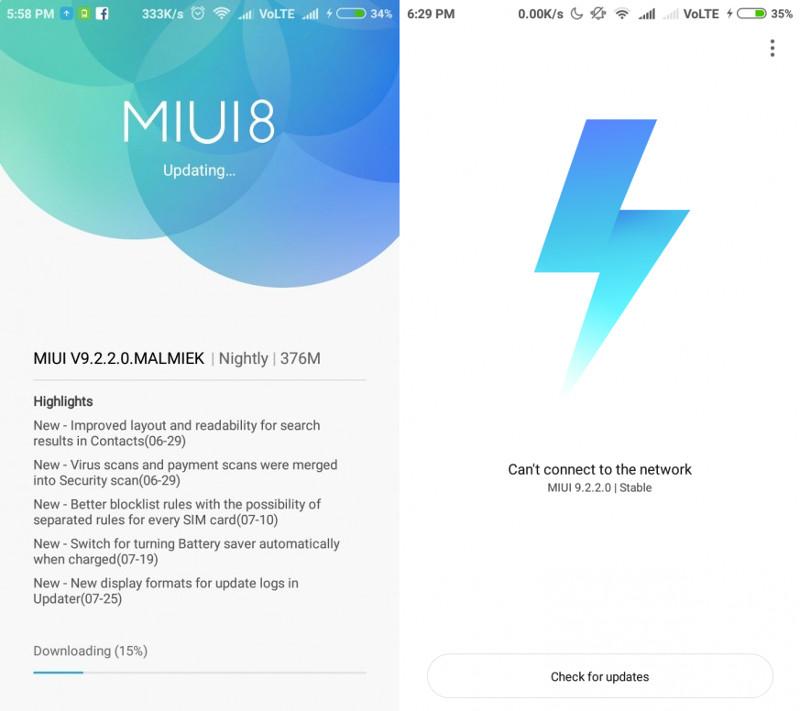 Xiaomi Redmi 3S, Redmi 3S Prime MIUI 9 2 update starts