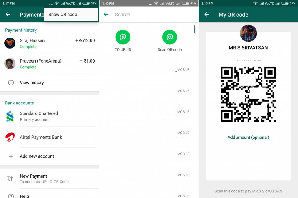 WhatsApp beta for Android finally brings QR Code Payments Option
