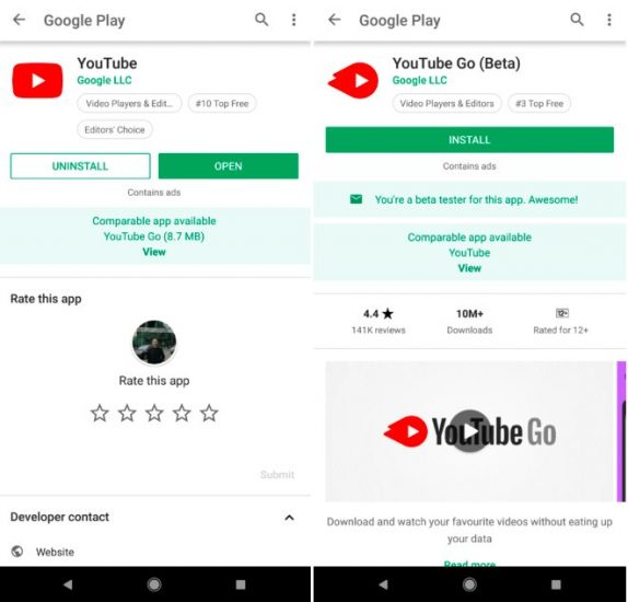 Google Play Store now recommends Lite and Android Go apps