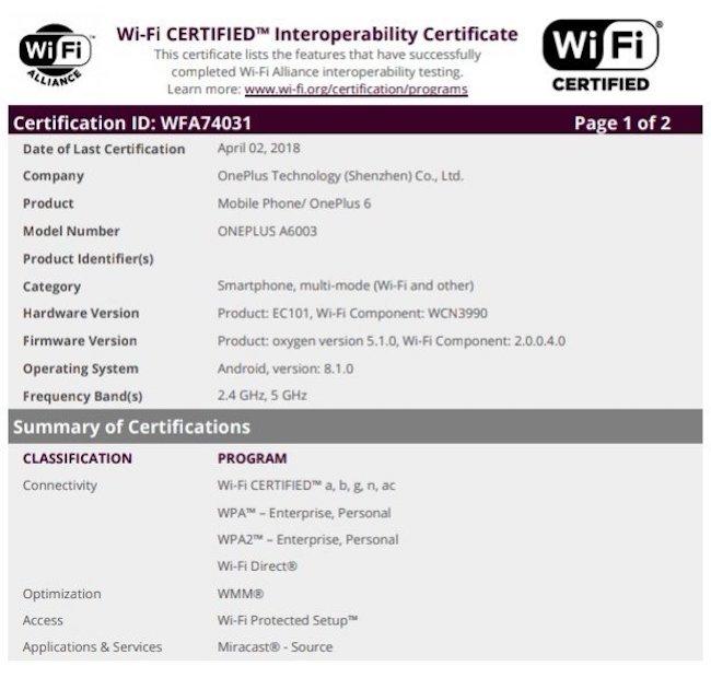 OnePlus 6 WiFi Certification
