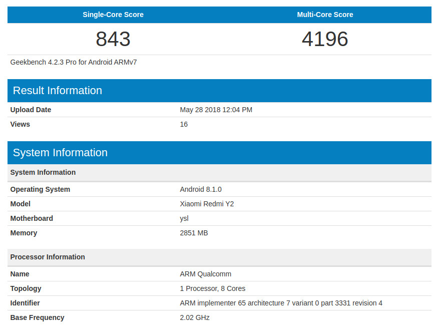 Xiaomi Redmi Y2 with 3GB RAM, Android 8 1 surfaces in benchmarks