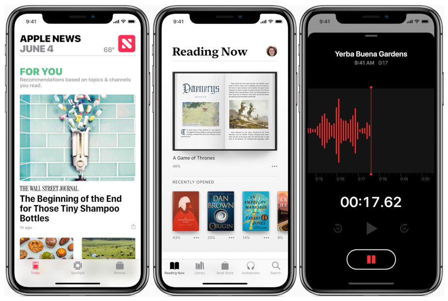 iOS 12 Apple News, Books, Voice Memo