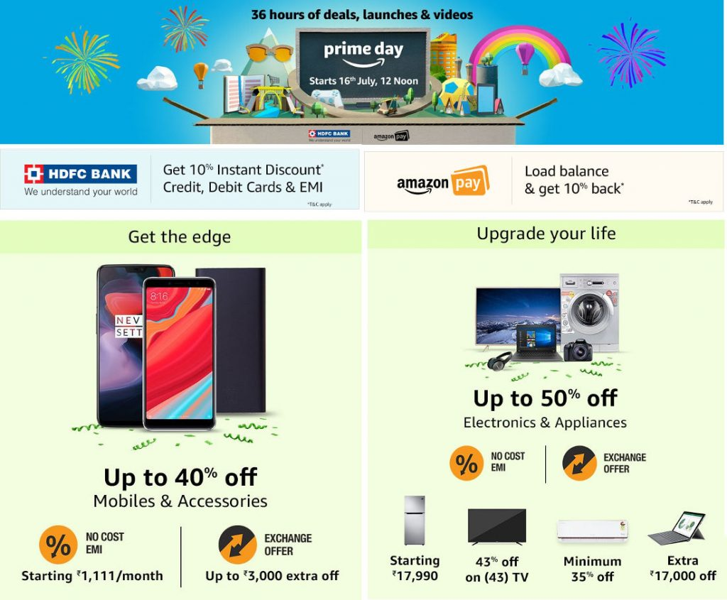 amazon prime day 2018 sale in india on july 16 exclusive. Black Bedroom Furniture Sets. Home Design Ideas
