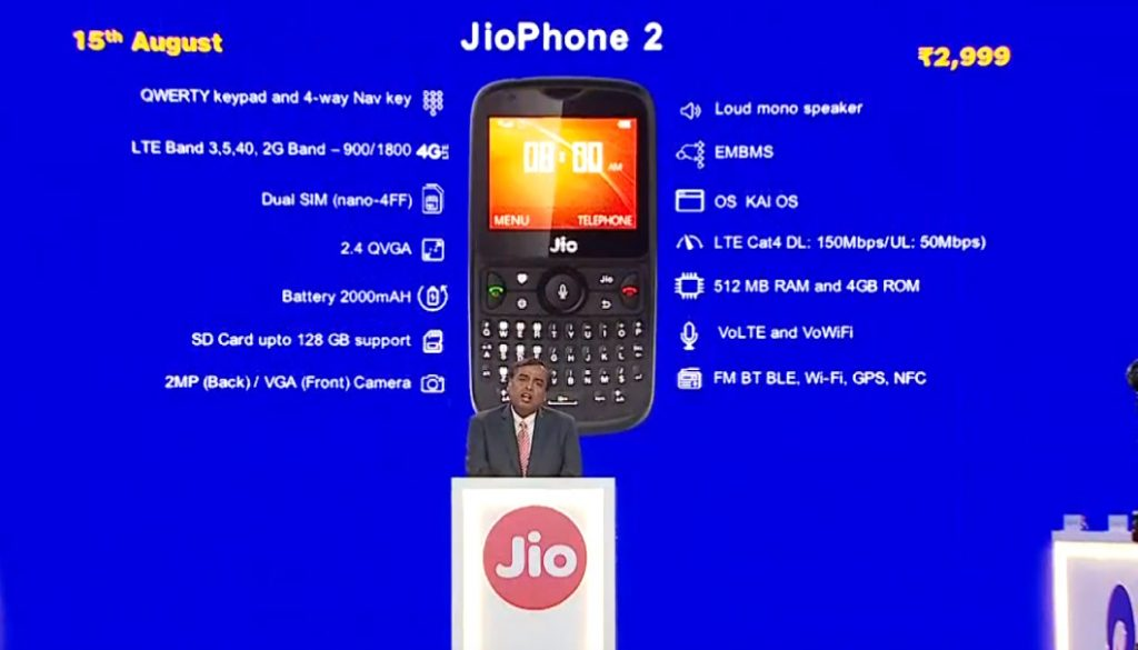 JioPhone 2 with QWERTY keyboard, Dual SIM support launched