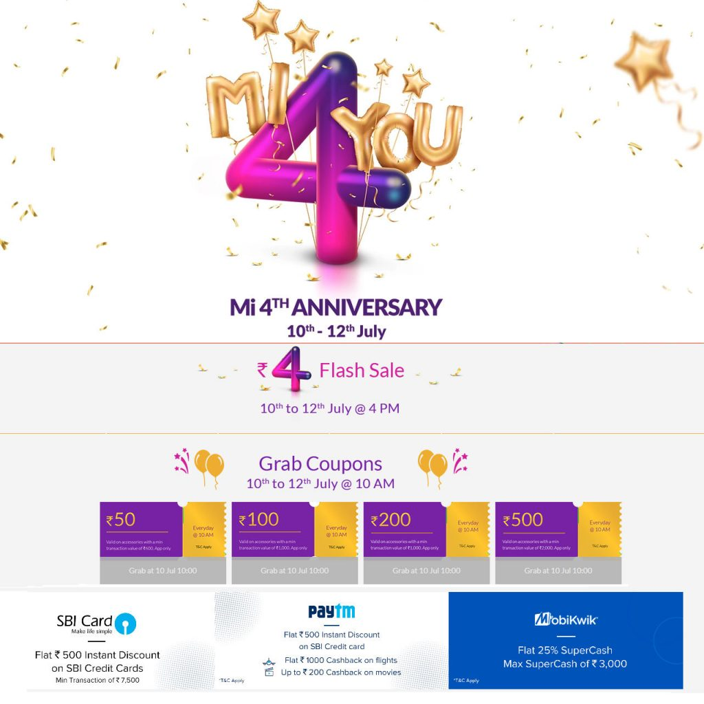 Xiaomi Mi 4th Anniversary sale from July 10 to 12 – Rs. 4 flash sale, coupons, discounts and more