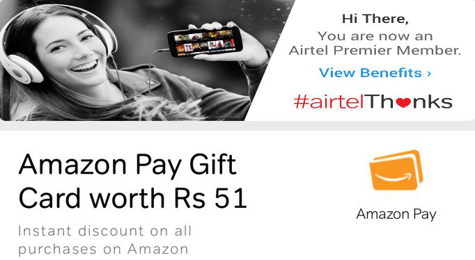 Airtel offers Amazon Pay Gift Card to its pre-paid and post-paid