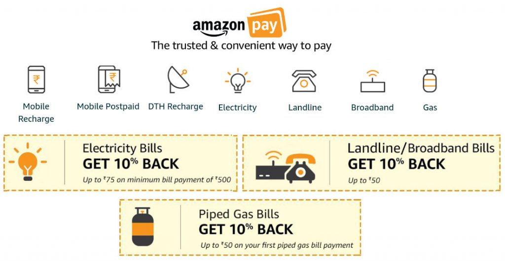 Amazon Pay gets Electricity, Landline, Broadband, Gas and