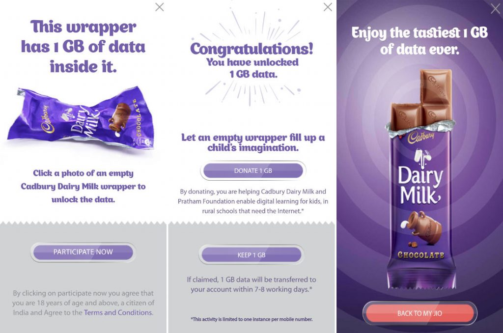 Image result for Reliance Jio Offers 1GB Free 4G Data With a Cadbury Dairy Milk Chocolate