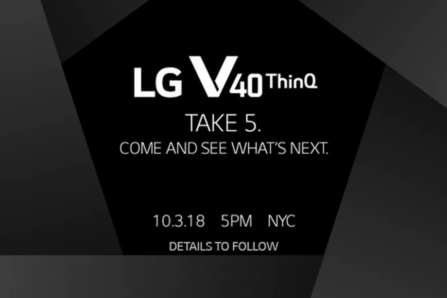 LG V40 ThinQ with 6.4-inch Quad HD+ OLED display, triple rear cameras, dual front cameras to be announced on October 3