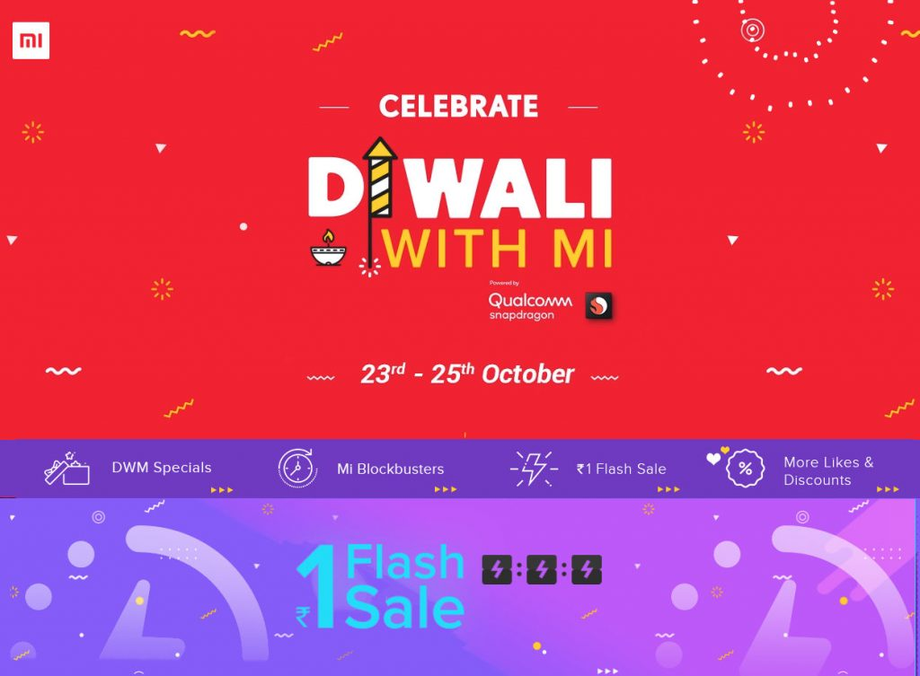 Xiaomi Diwali with Mi sale from October 23 to 25 – Discounts on POCO F1, Redmi Note 5 Pro, Re. 1 flash sale, Cashback and more