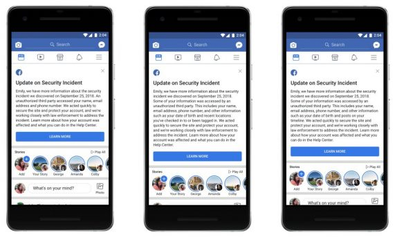 Facebook security breach allowed hackers to access 30 million accounts; Facebook will send customized messages to affected accounts