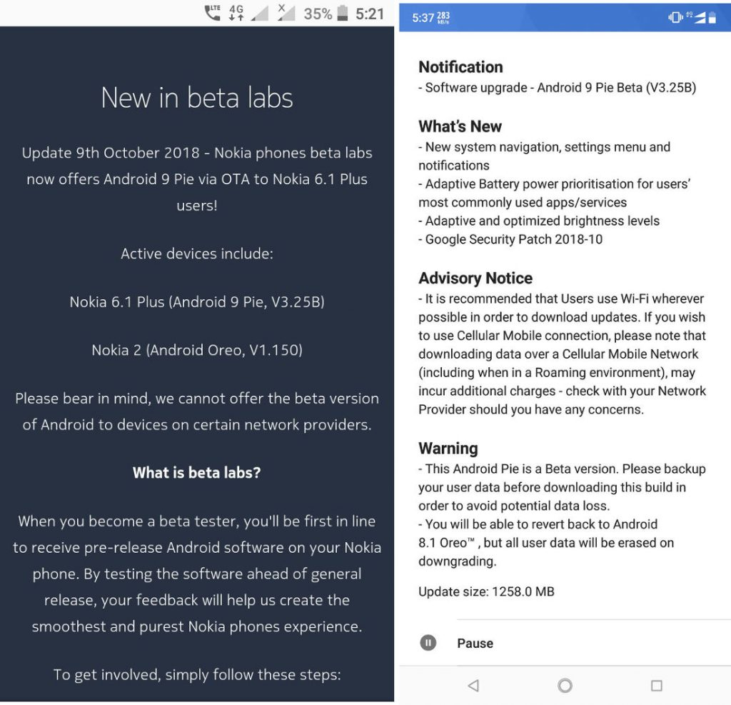 Nokia 6 1 Plus gets Android 9 0 (Pie) beta update
