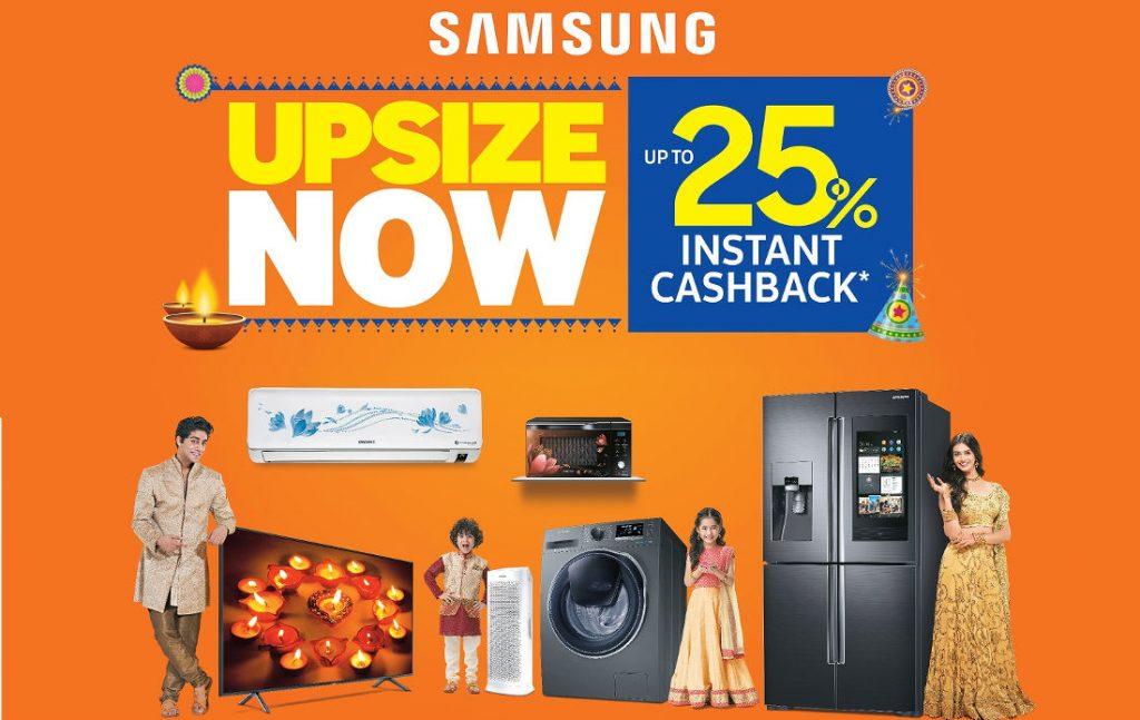 Samsung festive offer: up to 25% instant cashback