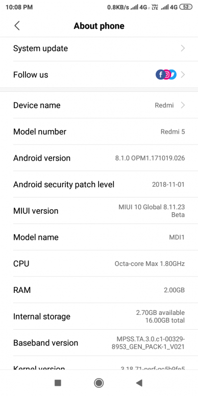 Xiaomi Redmi 5 and Redmi 5A Android 8 1 Oreo beta update