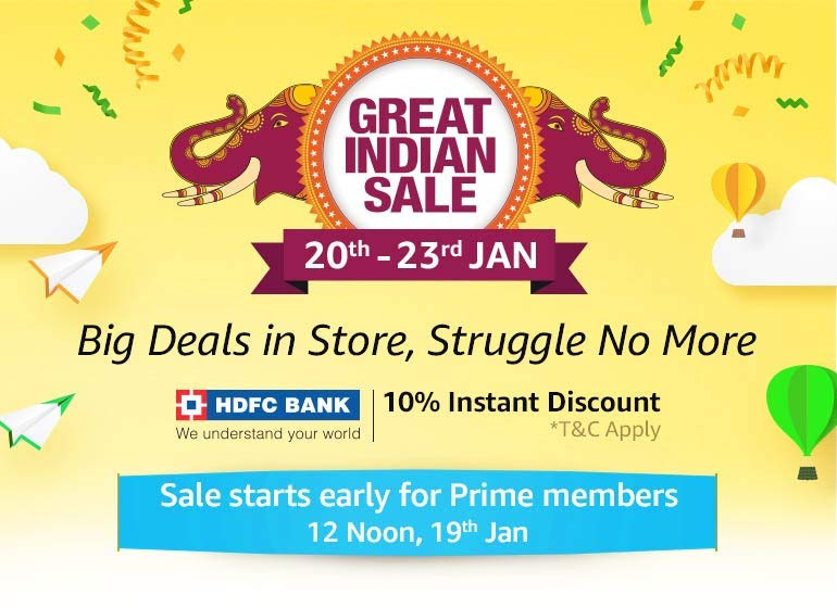 Amazon Great Indian Sale scheduled from Jan 20 to 23 – up to 60% off on electronics, No cost EMI, exchange offers and more