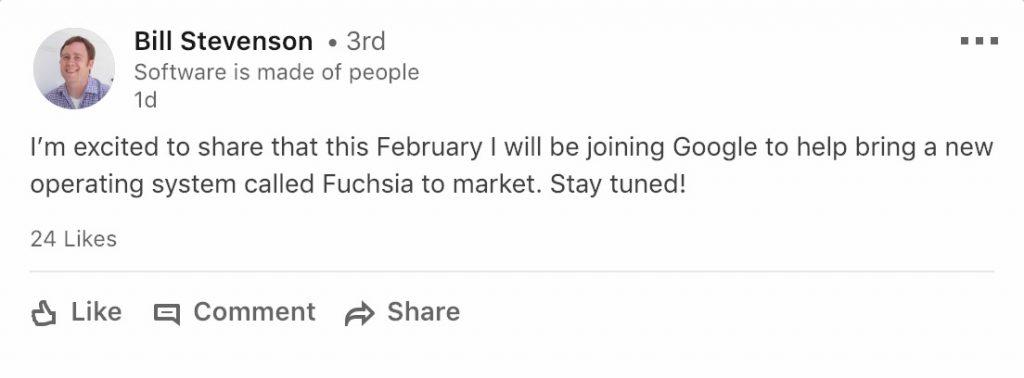 Google Fuchsia Stevenson