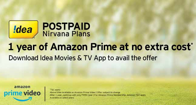 Idea offers 1 year free Amazon Prime membership with select Nirvana postpaid plans