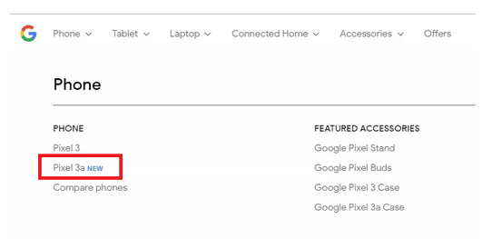 Google Store website confirms existence of Pixel 3a smartphone