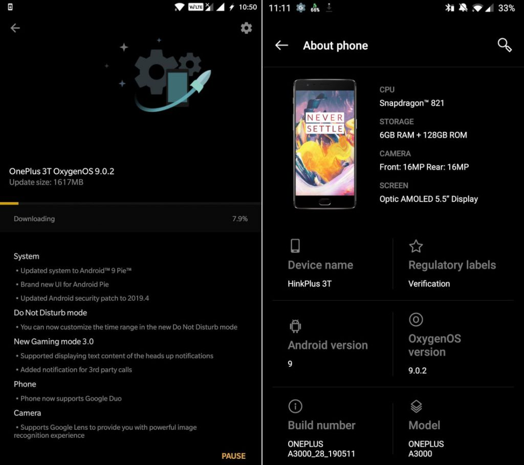 OnePlus 3 and 3T OxygenOS 9 0 2 Android Pie stable update