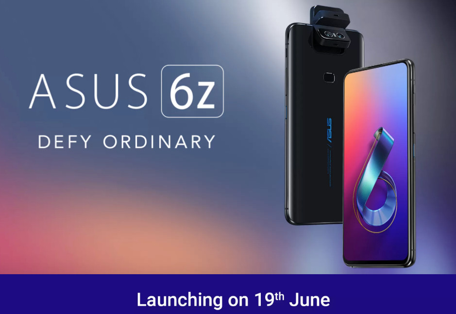 ASUS 6Z (Zenfone 6) with 6.4-inch FHD+ NanoEdge Display, Snapdragon 855, 48MP + 13MP Flip Camera launching in India on June 19
