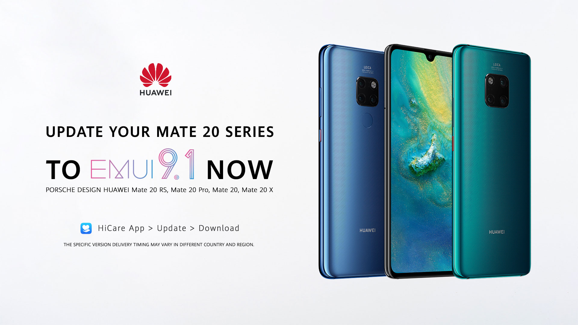 EMUI 9.1 released for HUAWEI Mate 20 Series, to be available for other devices soon