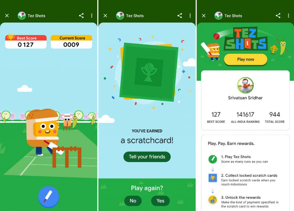 Tez Shots game on Google Pay lets you win scratch cards