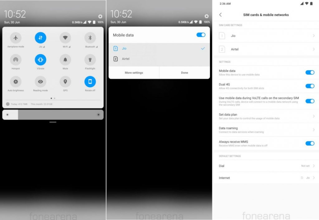 MIUI update brings shortcut to switch SIM card for data connectivity