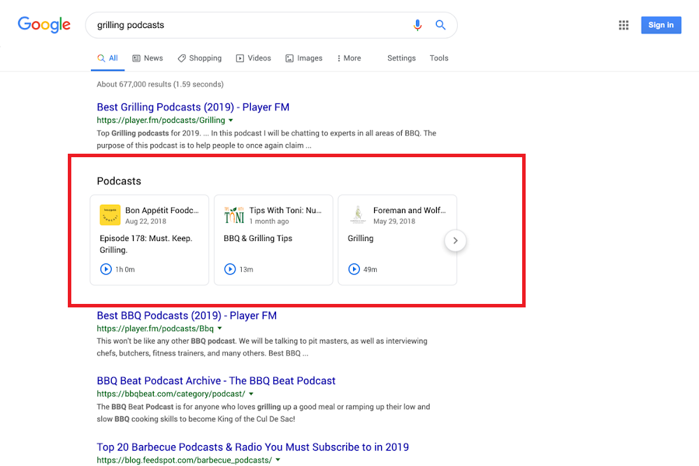 Google Search now adds ability to find and listen to podcast episodes