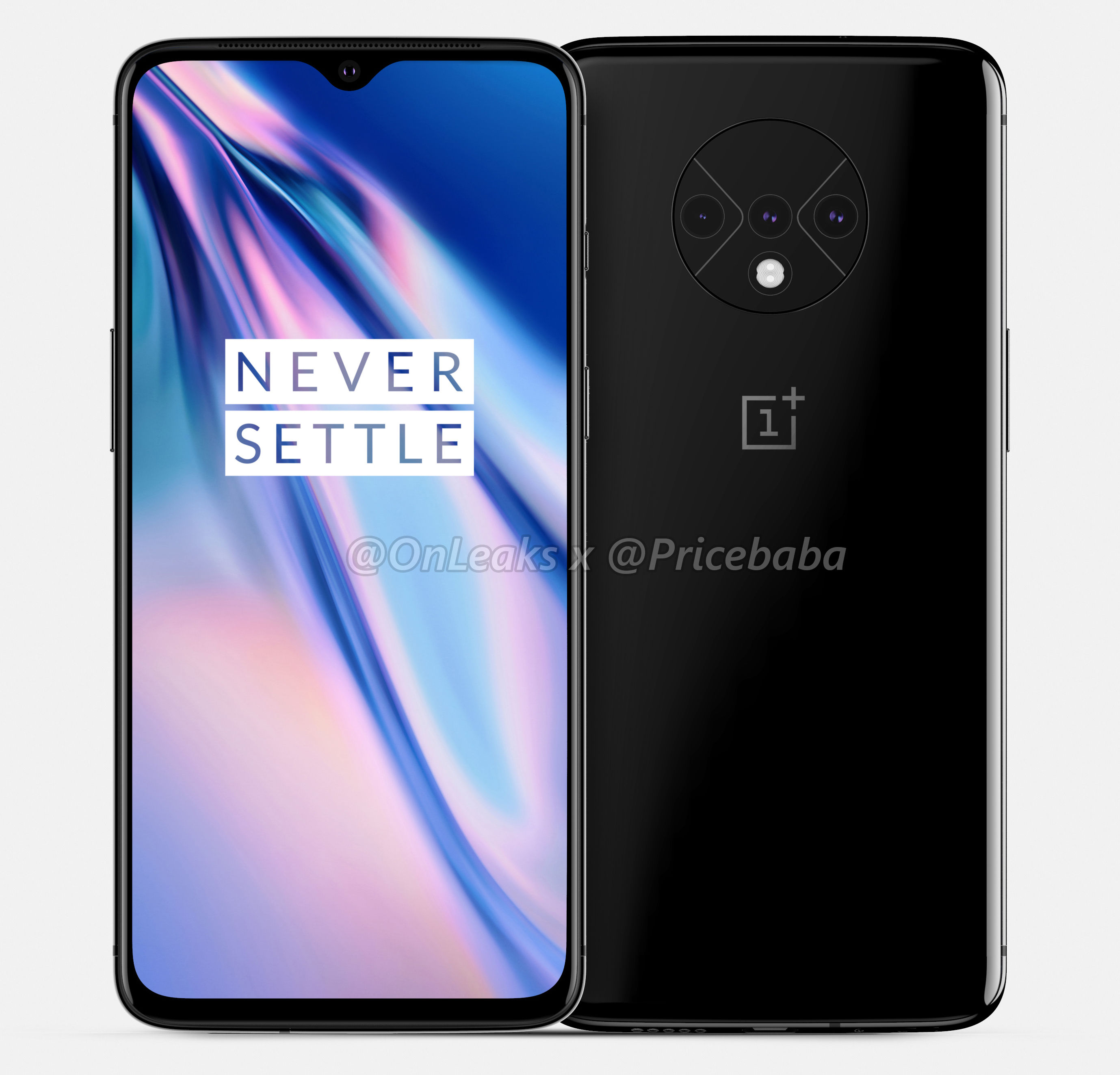 OnePlus 7T with circular triple rear camera module surfaces in render