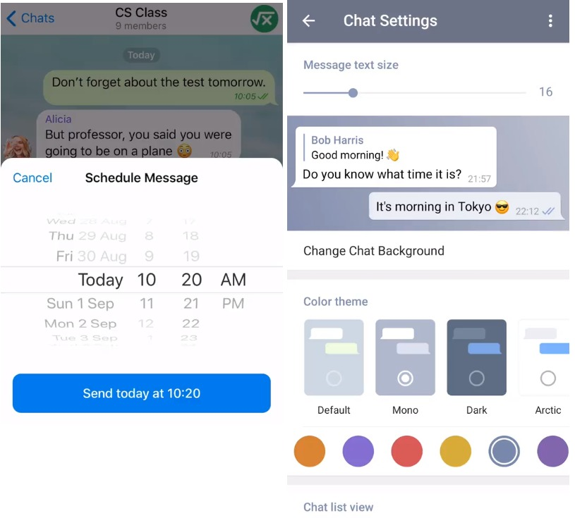 Telegram v5.11 update brings Scheduled Messages, Custom Cloud themes, Condensed message options and new privacy settings