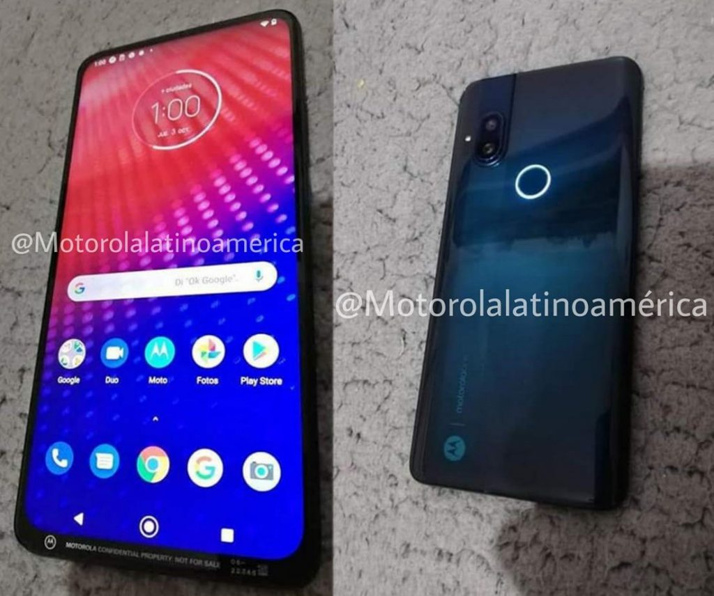 Motorola smartphone with no-notch display, pop-up camera, dual rear cameras surface in live images