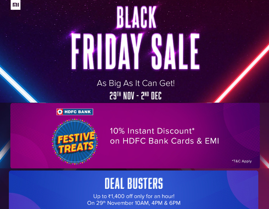 Xiaomi Black Friday Sale From Nov 29 To Dec 2 Discounts On Smartphones Accessories And More